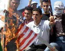 Burning the  American flag in Gaza