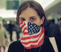 American Flag as Mask in the Netherlands