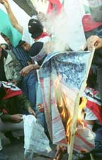 Burning the American flag in Hebron