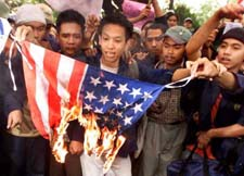 Burning the American flag in Jakarta