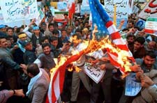 Burning the American flag in Tehran