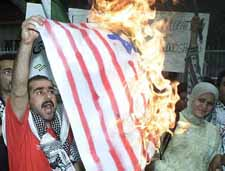 Desecrating the USA flag in Syria