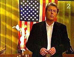 American flag burning on Norwegian Television