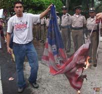 Burning the USA flag in Panama