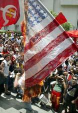 Burning the USA flag in Brazil