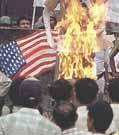 Burning U.S. flag in India