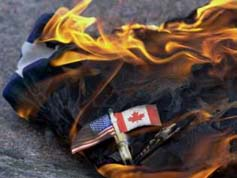 Burning the American flag in Canada