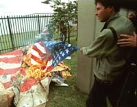 Burning the US flag in Colombia