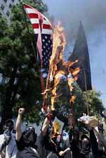 Burning the US flag in Los Angeles