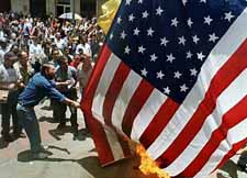 Burning the American flag in Colombia