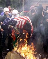 Burning the  American flag in Chile