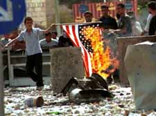 Burning the American flag in the West Bank