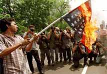 Burning the American flag in Indonesia