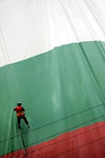 Bulgaria flag whapped around building - reuters photo