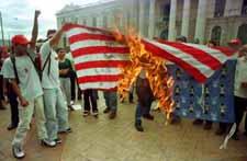 Burning U.S. flag in San Salvador