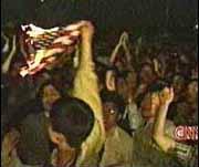 Burning U.S. flag in China