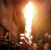 Burning U.S. flag in Washington, DC