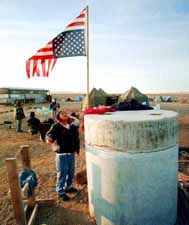 Upside down American flag in the Mojave Desert.