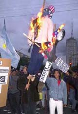 Burning the American flag and efigy in Argentina.