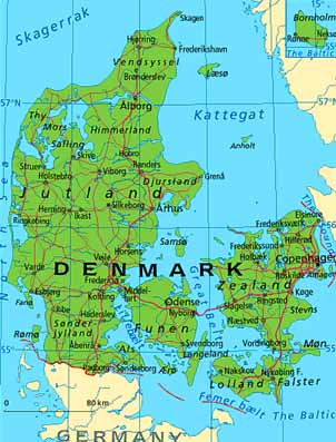 ABC Maps of Denmark; Flag, Map, Economy, Geography, Climate, Natural Denmark Map on