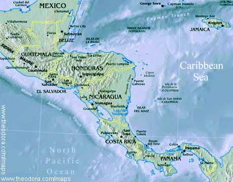 Physical Map of Central America - Central America Flags, Maps ...