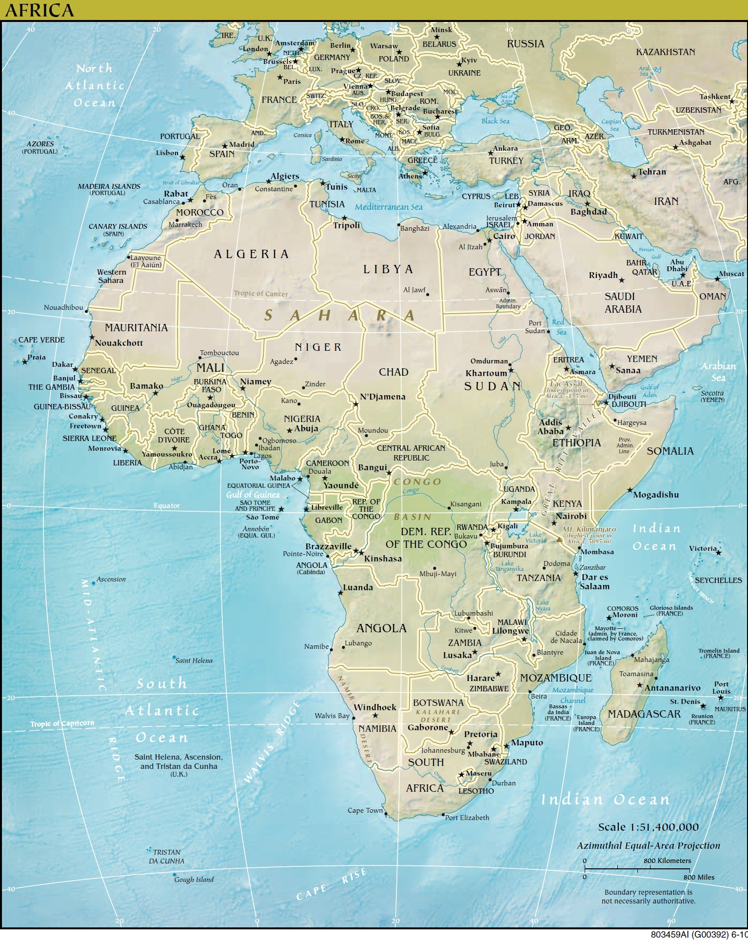 Click Here To See A Full Size Image Of The Africa Terrain And Political Map