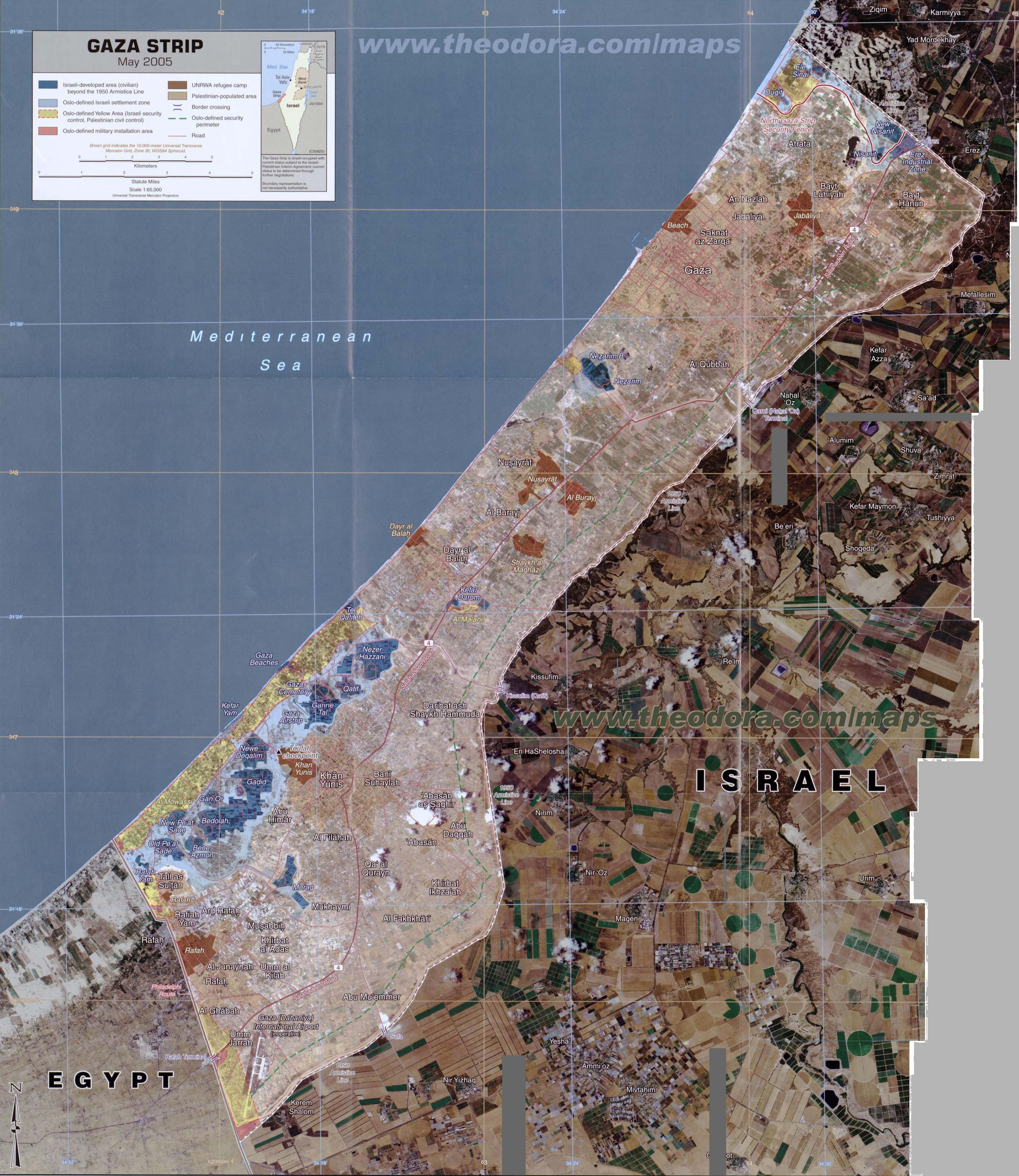 large scale detailed annotated photo-montage map of Gaza Strip