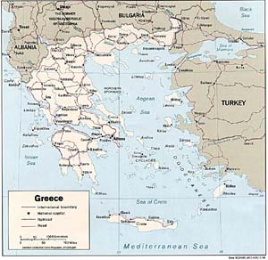 Large Political map of Greece
