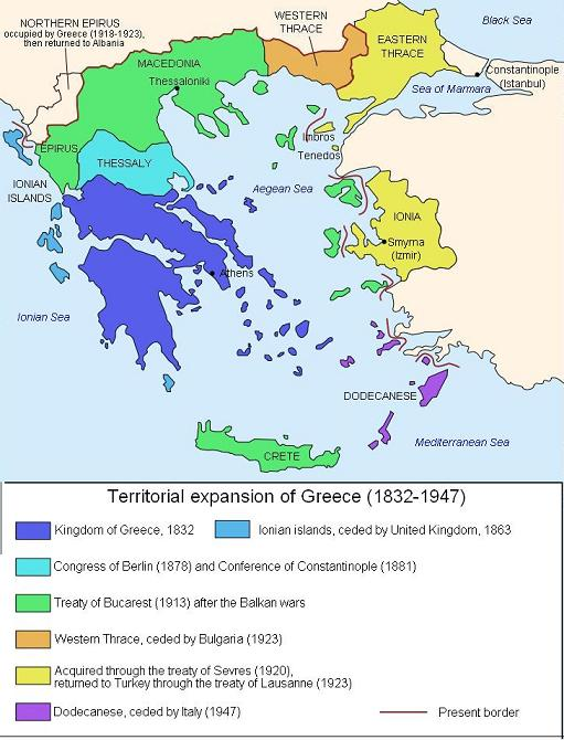 Territorial expansion of Greece 1832-1947