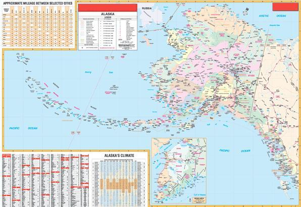 Deluxe Laminated Wall Map of Alaska State 66