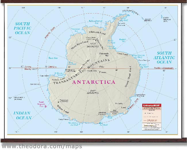 Deluxe Laminated Wall Map Of Antarctica  137cm X