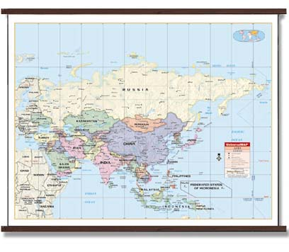 Deluxe Laminated Wall Map Of Asia By Cm X Cm - Wall maps