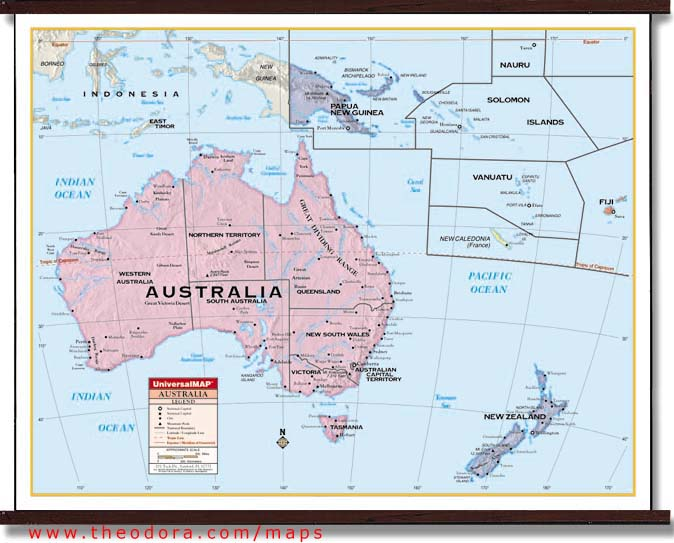 Deluxe Laminated Wall Map of Australia and Oceania 54\