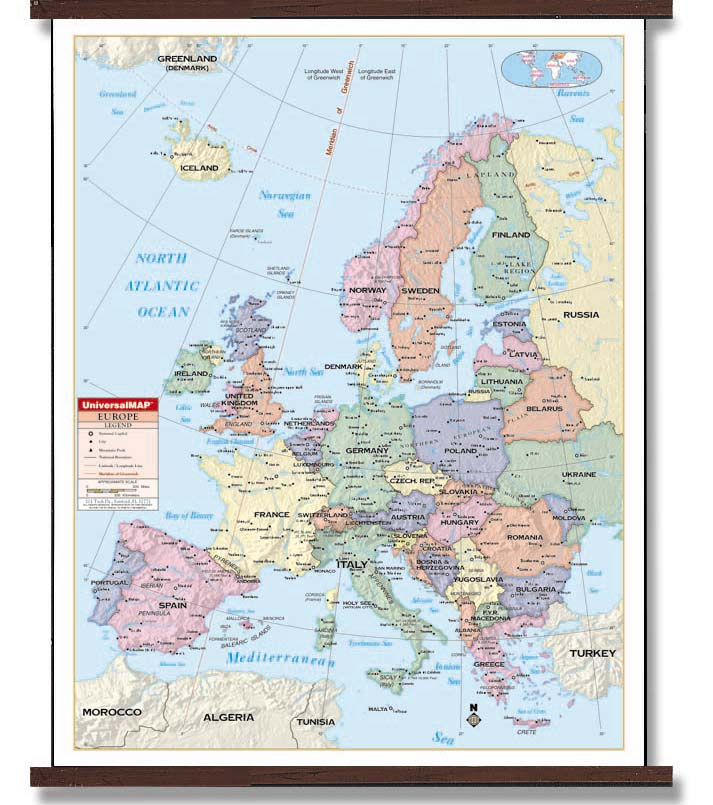 Latitude Map Of Europe.Deluxe Laminated Wall Map Of Europe 54 X69 1 37m X 1 75m 24400