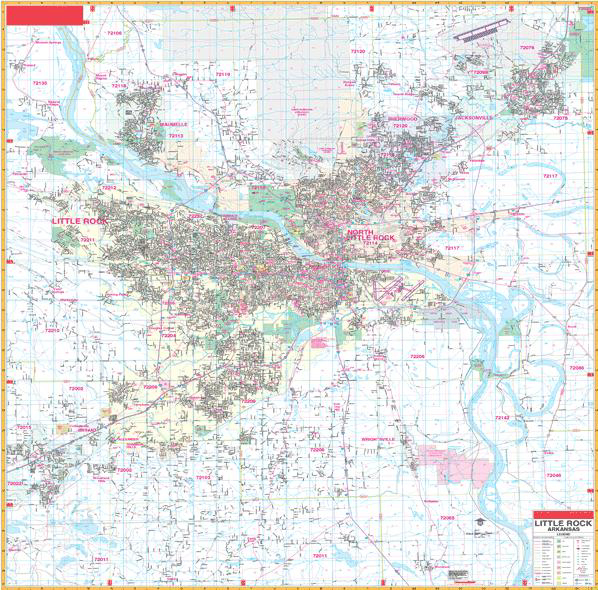 Deluxe Laminated Wall Map of Little Rock, Arkansas 72\