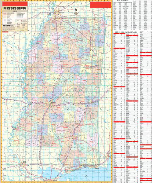 Deluxe Laminated Wall Map Of Mississippi State 54 X60 1 37m X 1 52m