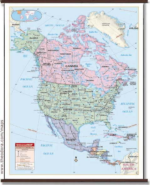 Deluxe Laminated Wall Map Of North America X M X M - Usa map with longitude and latitude lines