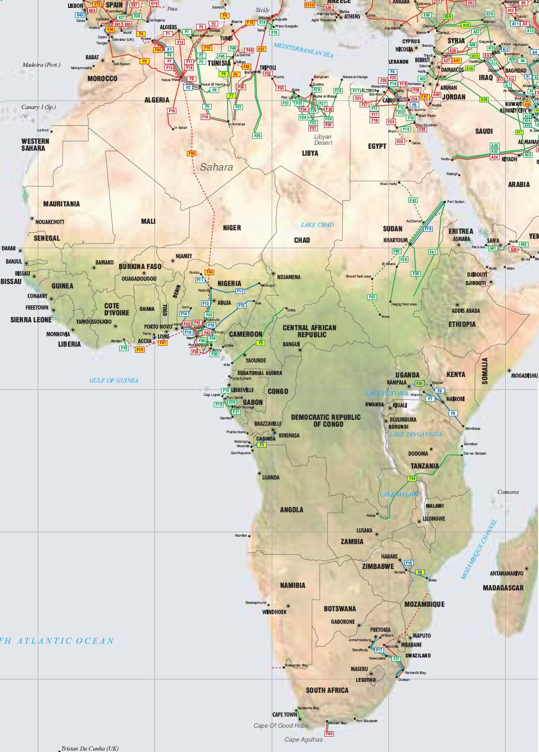 Africa Pipelines map   Crude Oil (petroleum) pipelines   Natural