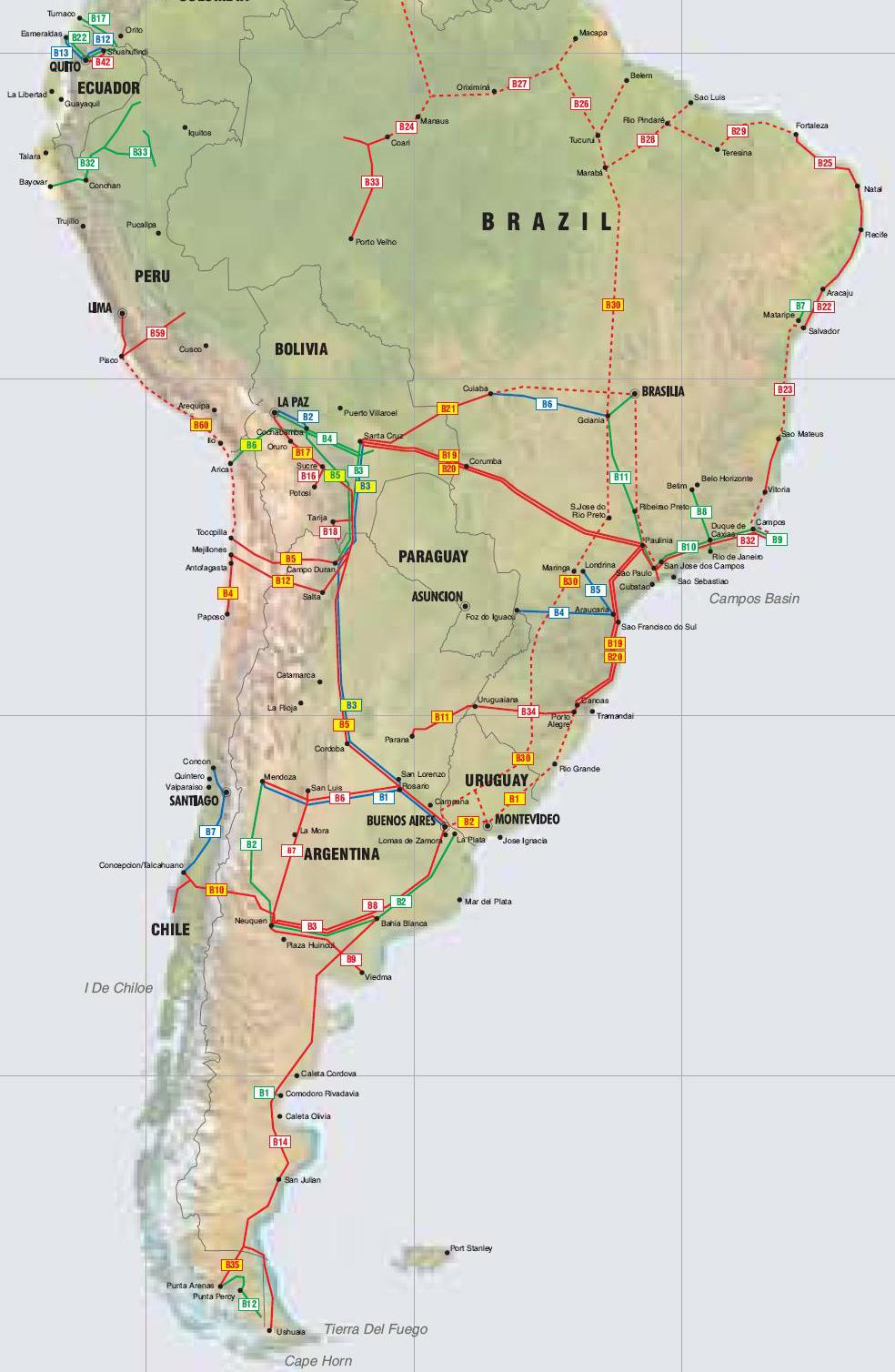 Map Of Chile And Peru Argentina, Bolivia, Brazil, Chile, Ecuador, Peru and Uruguay