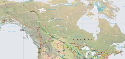 Canada and Alaska Pipelines map - Crude Oil (petroleum) pipelines