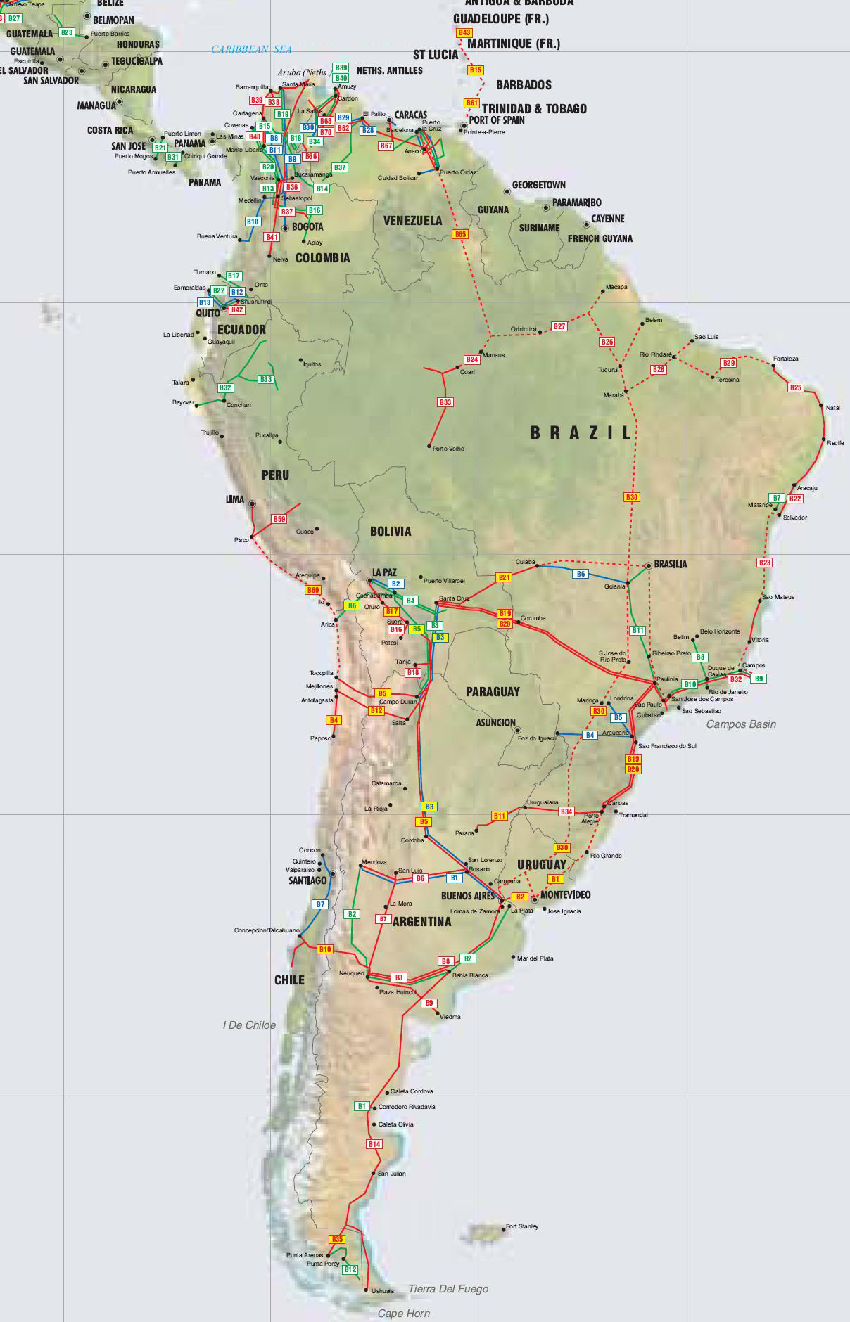 Central America, Caribbean and South America Pipelines map   Crude