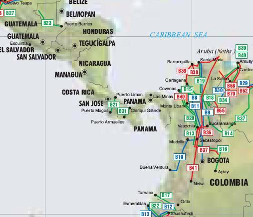 Colombia Costa Rica Guatemala and Panama Pipelines map Crude Oil