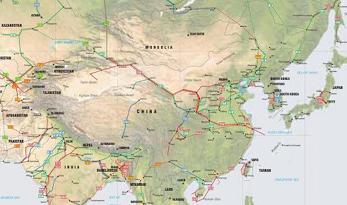 East Asia oil, gas and products pipelines map - Click on map to enlarge