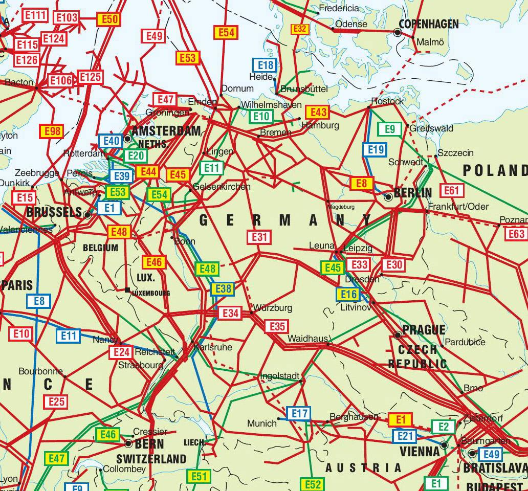 Germany Netherlands And Czech Republic Pipelines Map Crude Oil - Netherlands germany map