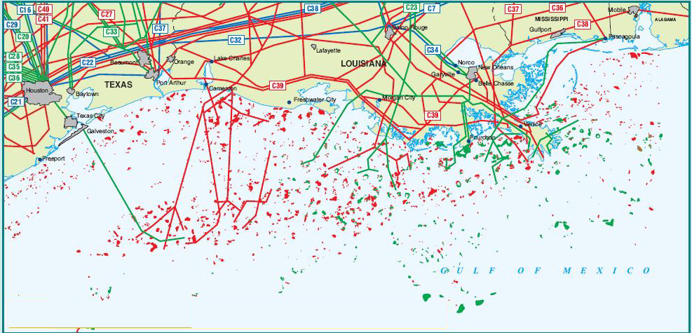 United States Gulf Of Mexico Pipelines Map Crude Oil Petroleum - Map of us oil pipelines