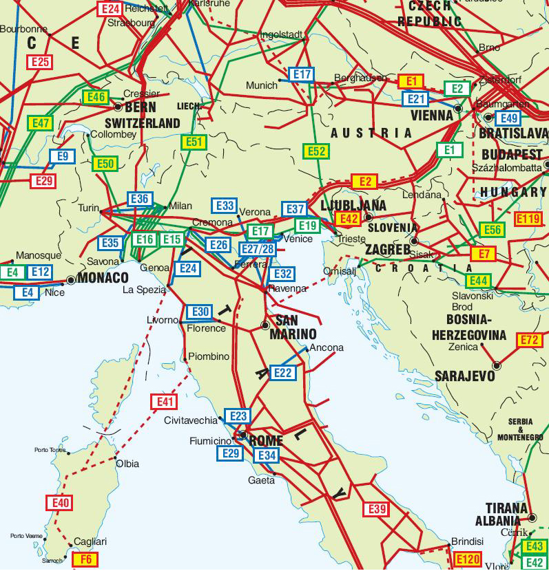Map Of Italy And Switzerland Italy, Switzerland and Austria Pipelines map   Crude Oil