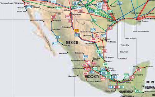 Mexico oil, gas and products pipelines map - Click on map to enlarge