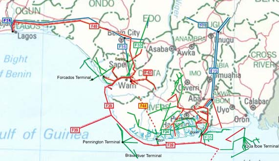 Nigeria pipelines map crude oil petroleum pipelines natural nigeria oil gas and products pipelines map click on map to enlarge ccuart Choice Image