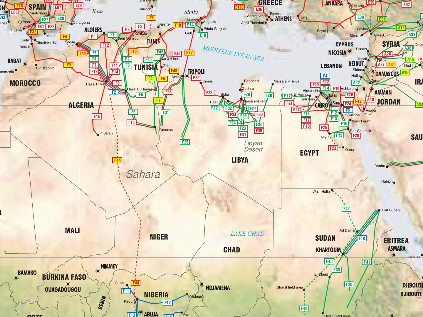 North Africa Pipelines Map Crude Oil Petroleum Pipelines