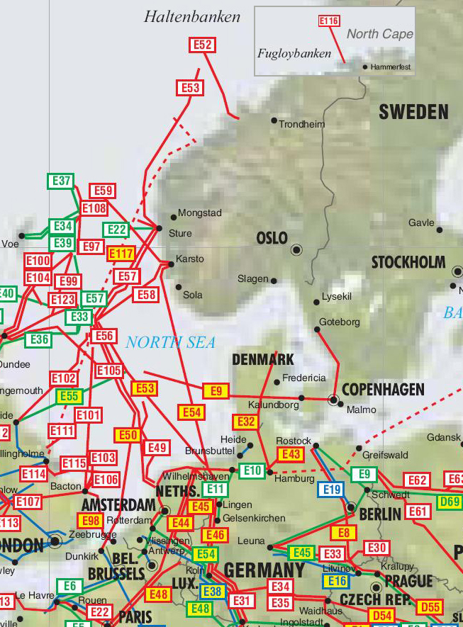 Map Of Uk Oil Fields.Norway Sweden And Denmark Pipelines Map Crude Oil Petroleum